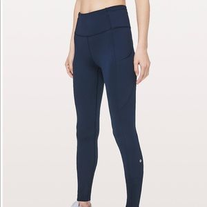 Lulu Lemon Shiny Navy Blue Stretch Legging